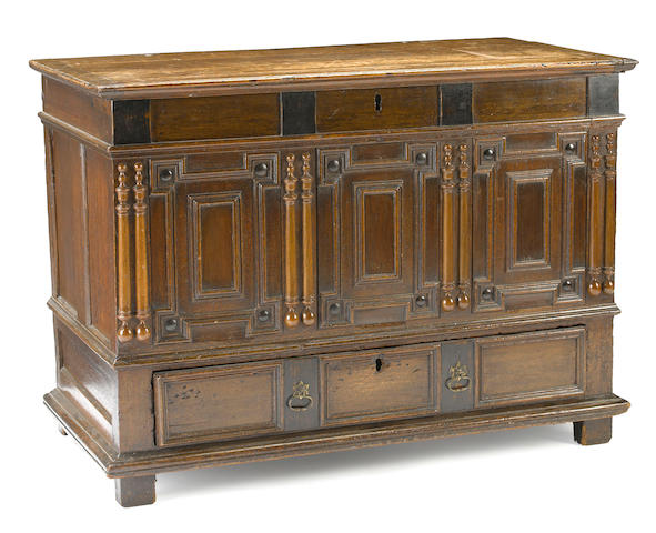An English oak paneled front chest <BR />late 17th century