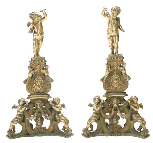 A pair of Renaissance style bronze figural andirons  late 19th century