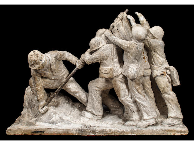 Rochette and Parzini  The Iwo Jima Flag Raising maquette for the 7th War Loan Drive Statue  circa April 1945] 46 x 18 x 33 in. (116.8 x 45.7 x 83.8 cm.), weight 200 lbs