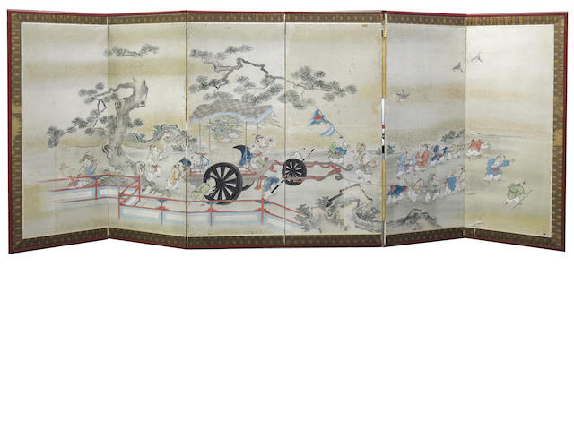 Anonymous (Edo period, 19th century) A six-panel mid-size screen