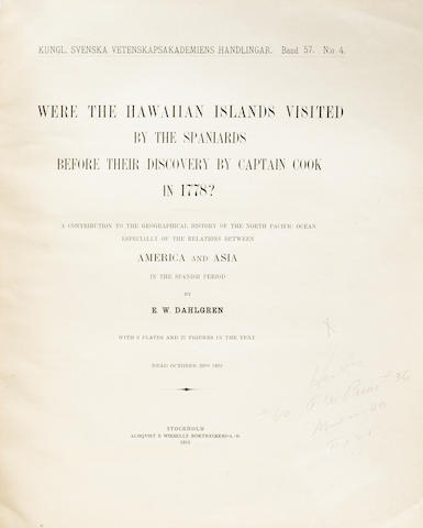 "Dahlgren, E.W., ""Were the Hawaiian Islands Visited by the Spaniards Before Their Discovery by Captain Cook in 1778"", Stockholm, 1916"