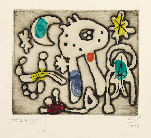 Joan Miró (1893-1983); One Plate, from The Prints of Joan Miró;