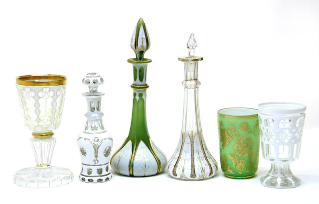 Six pieces of Bohemian overlay glass second half 19th century
