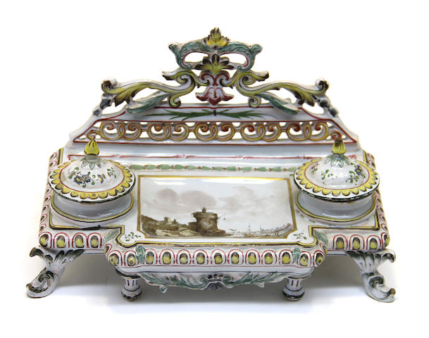 A French faience inkstand early 20th century