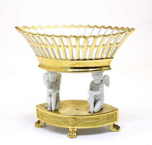 A French porcelain bisque centerpiece basket