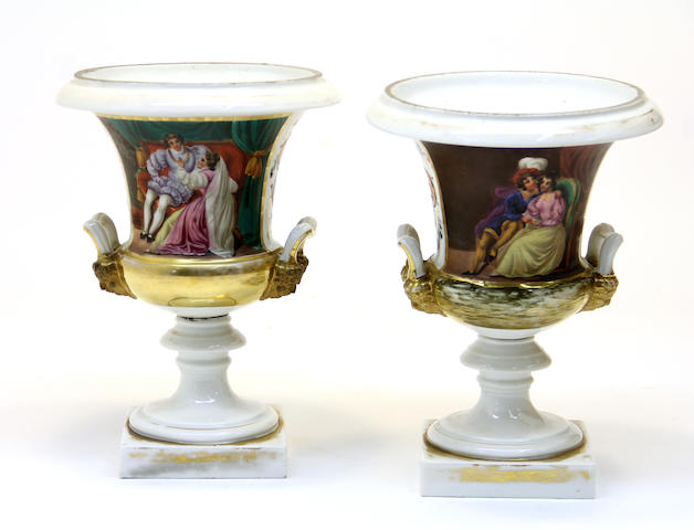 A pair of French porcelain campana form urns second quarter 19th century