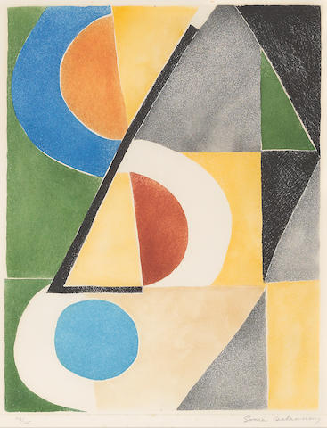 Sonia Delaunay (1885-1979); Untitled (Composition with blue circle and triangles);