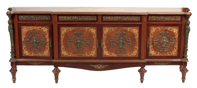 A Louis XVI style gilt bronze mounted buffet
