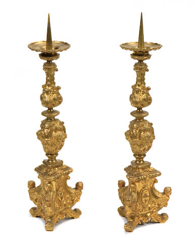 A pair of Renaissance style gilt bronze prickets