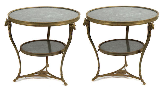 A pair of Louis XV style gilt bronze and marble gueridons
