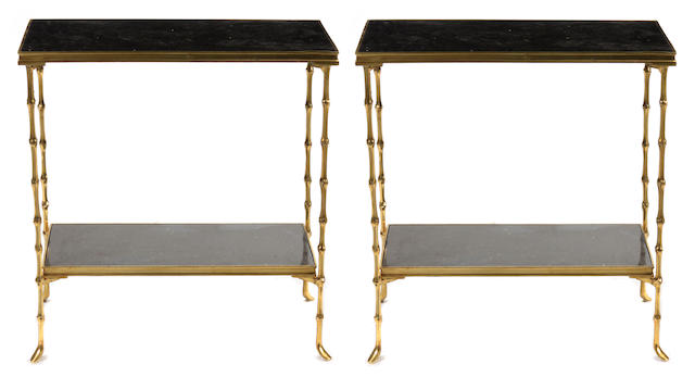A pair of Neoclassical style gilt bronze and marble tables