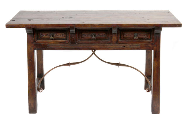 A Spanish Renaissance style oak trestle table