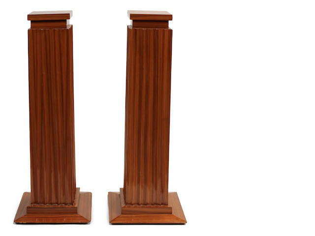 A pair of Art Deco style fluted columns