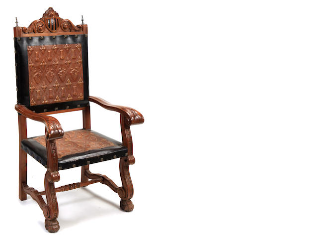 A pair of Portuguese Baroque style upholstered chairs
