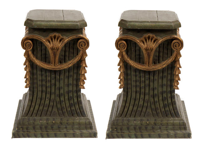 A pair of Italian Neoclassical style paint decorated pedestals