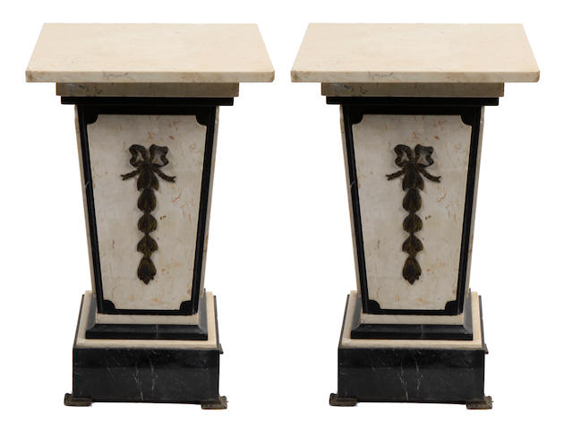 A pair of Neoclassical style bronze mounted marble pedestals