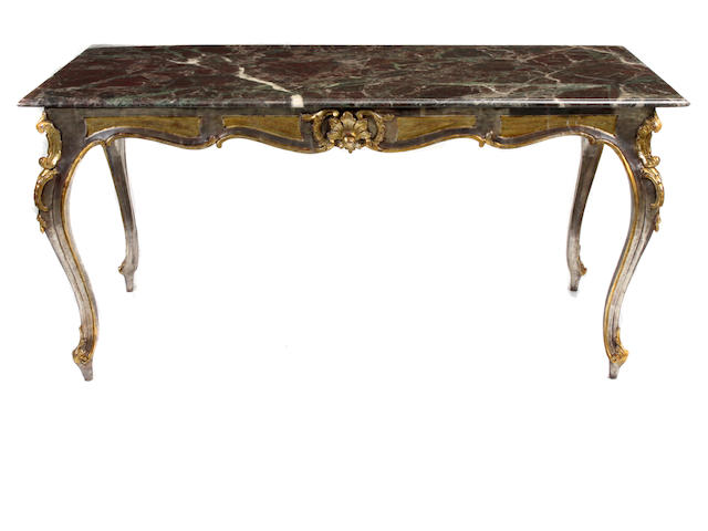 A Louis XV style paint decorated salon table