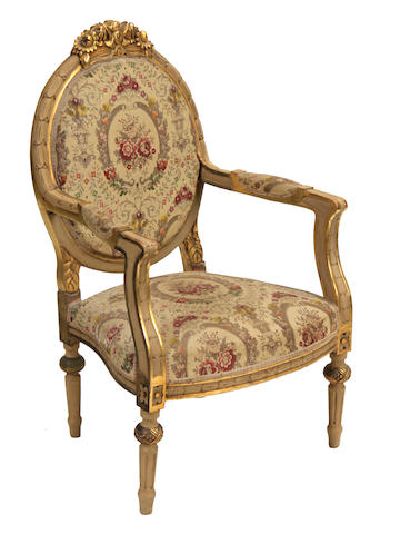 A pair of Louis XVI style paint decorated armchairs
