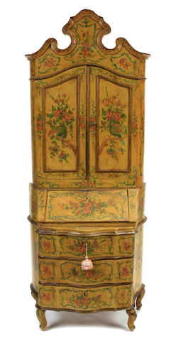 An Italian Rococo style paint decorated secretary cabinet