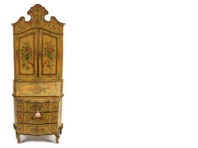 An Italian Rococo style paint decorated secretary cabinet