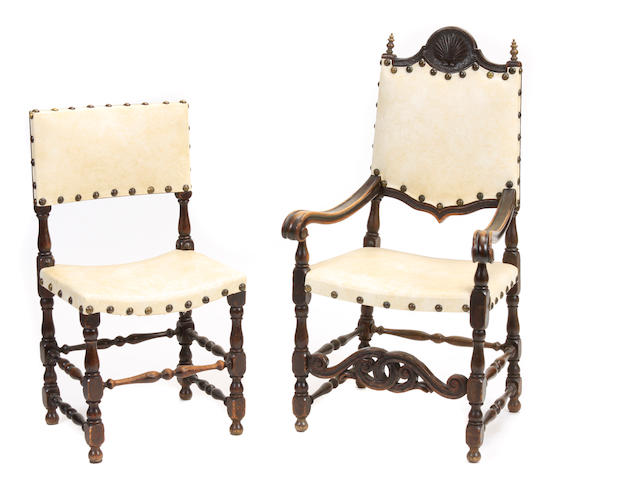 A set of eight Spanish Baroque style dining chairs