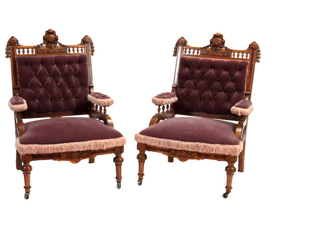 A Victorian upholstered suite of seat furniture