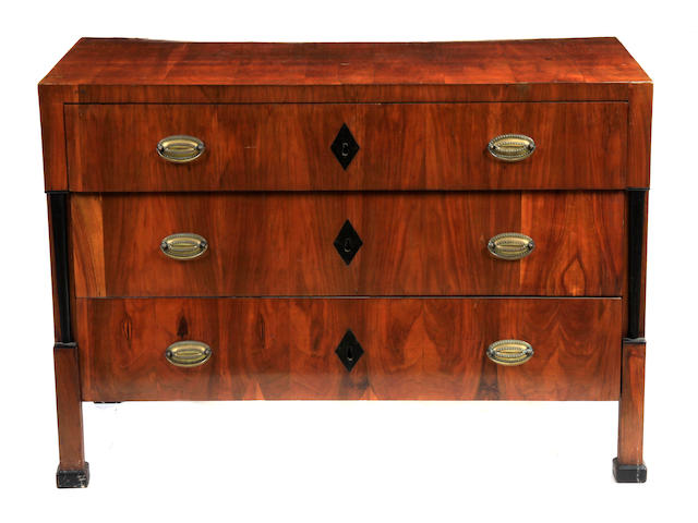 An Italian Neoclassical parcel ebonized walnut commode