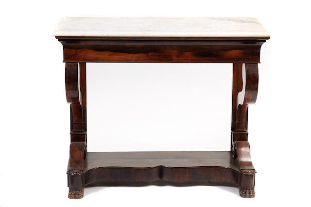 A Regency style rosewood and marble console