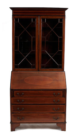 A George III style inlaid mahogany secretary cabinet