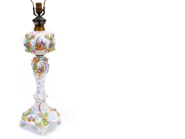 A German porcelain floral decorated table lamp
