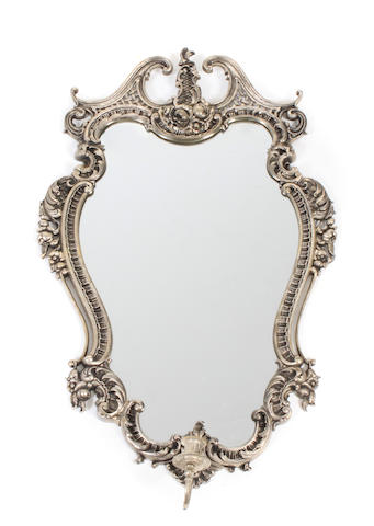 A Louis XV style silvered metal girandole mirror