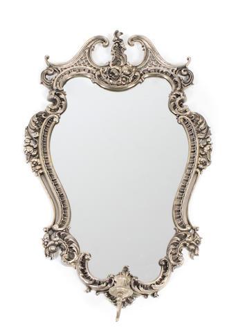 A Louis XV style silvered metal girandole mirror