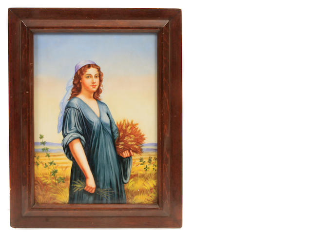 A Berlin style framed porcelain plaque of Ruth