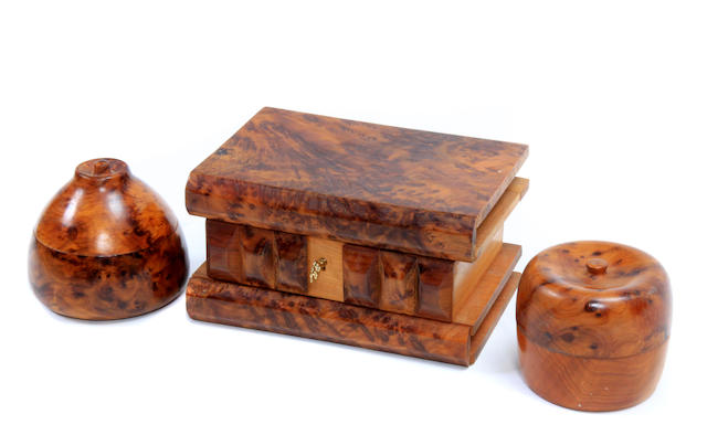 Three carved treen table boxes