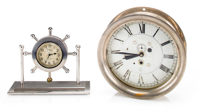 An 8-1/2 inch bulkhead clock and a desktop clock  circa 1944