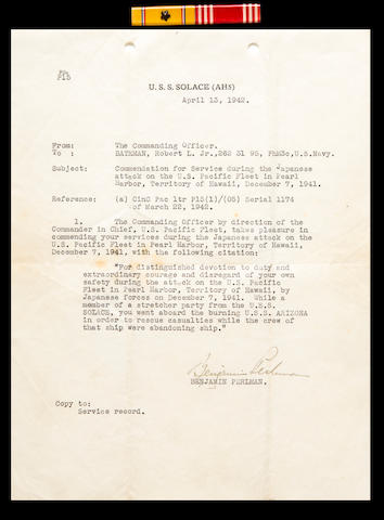 Pearl Harbor commendation letter and ribbon bar