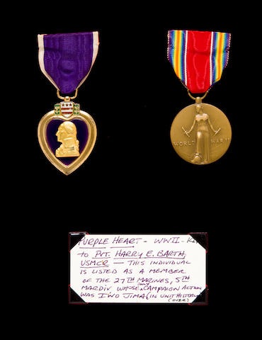 A Posthumous Iwo Jima Purple Heart and Bronze Star Medal Group to Pvt. Harry Barth, USMCR  1945 and later