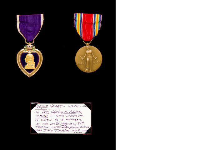 "Rare ""Killed in Action"" Purple Heart won by Marine Pvt. Harry Barth, killed in action (KIA) on Iwo Jima, together with service record, award docs and wound documents are in binder"