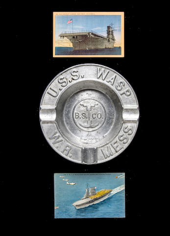 A commemorative aluminum ashtray for the U.S.S. Wasp  1939 or 1942 7-1/2 in. (19 cm.) diameter. 3