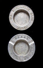 Four commemorative ashtrays and a gold plated pin  1941-1945 6-1/2 in. (15.8 cm.) diameter of the largest 7