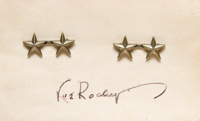 Major General Stars of Keller E. Rockey on hand-signed card with two period photos from De Weldon Studio Sale