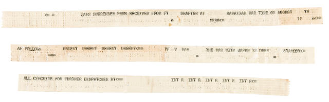 END OF THE WAR - The First News of the Japanese Unconditional Surrender to Reach the Mainland USA was via this Original Paper Teletype Tape Strip cabled from the Navy Communications Station in Guam to the Mainland