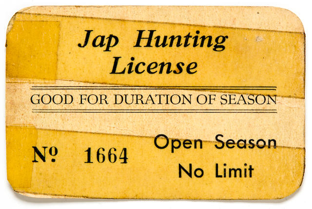 "Original WWII ""Jap Hunting License"" card from a 4th Division Iwo Jima Veteran"