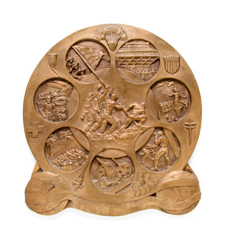 Bronze Film Reel Award Plaque to USO-Motion Picture Industry for War Bond Drive (X-Collection of Felix De Weldon)