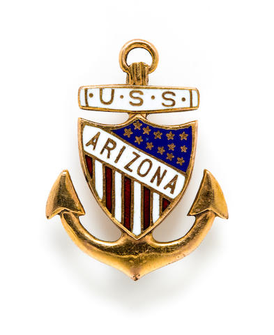 A group of U.S.S. Arizona relics  1 in. (2.5 cm.) the pin (height); 5-1/2 in. (13.9 cm.) length. 3