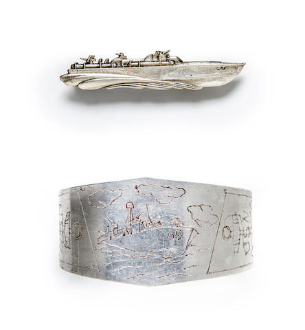 A PT-boat commemorative tie clasp and bracelet  circa 1944 and later 2-1/2 in. (6.3 cm.) the length of the clasp. 2