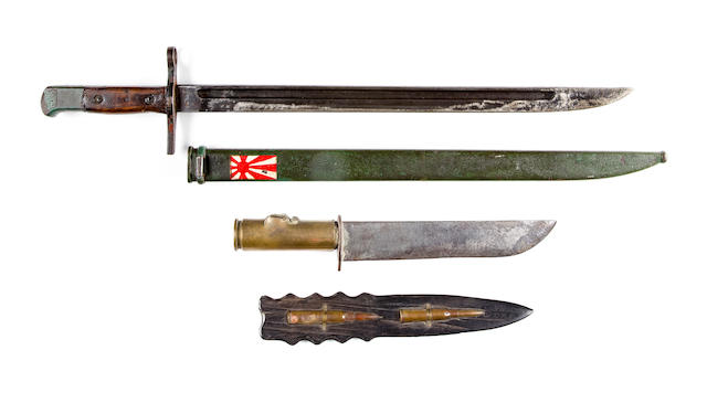 "Japanese Bayonet Captured on Iwo Jima by a U.S. Marine in 1945 - The original scabbard is hand-painted by a Japanese with their Imperial Naval ""Rising Sun"" flag"