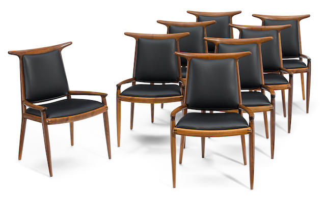 A set of eight Sam Maloof hornback dining chairs