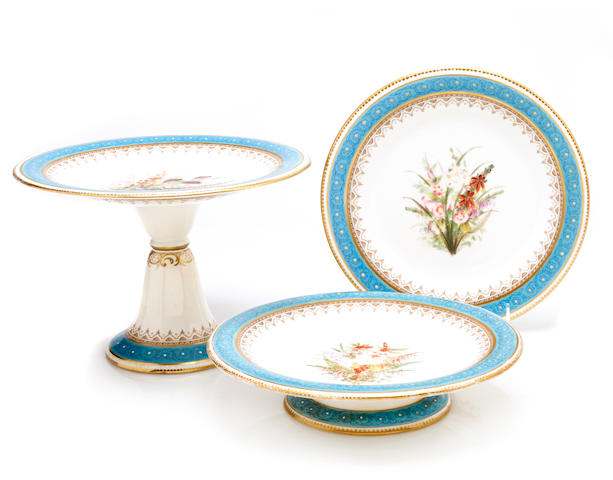 A Worcester porcelain part dessert service