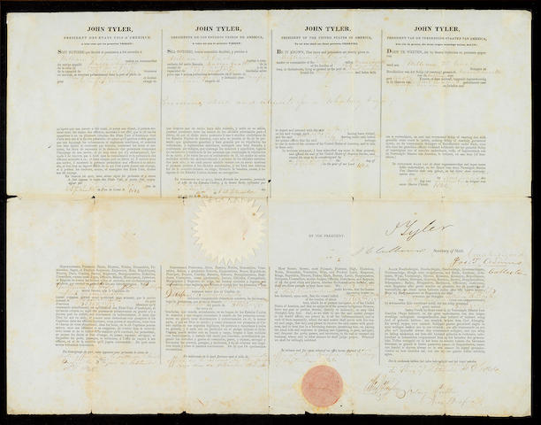 "TYLER, JOHN.  1790-1862. Document Signed (""J. Tyler""), partially printed and accomplished in manuscript, 1 p, folio, Washington, September 4, 1944, being a four-language ship's passport issued to William B. Cash,"